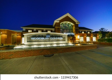 WOODBURY, NEW YORK - NOV 14 :  Woodbury Common Premium Outlet at twilight on Nov 14, 2017 in Woodbury, New York, USA.