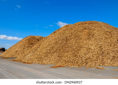 Woodchips piles on a storage site