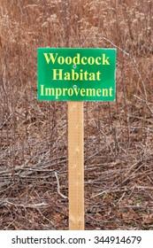 Woodcock Habitat Improvement sign in outdoor area