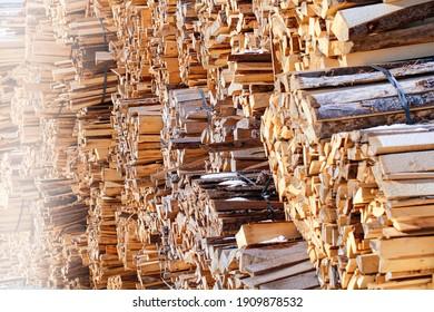 Woodcut of freshly cut lumber awaiting distribution as biomass for heating sezon. - Shutterstock ID 1909878532
