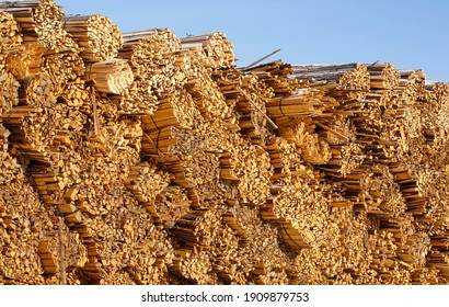 Woodcut of freshly cut lumber awaiting distribution as biomass for heating sezon. - Shutterstock ID 1909879753