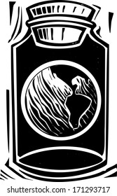 Woodcut style image of the planet earth in a jar.