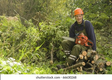 Woodcutter resting from work.