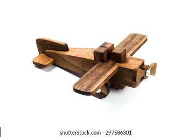 woodden plane / wooden toy on white background