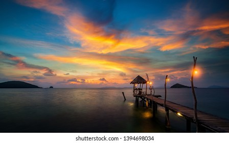 Wooded bridge in Koh Nak with sunset sky, Koh Kood, Trat, Thailand