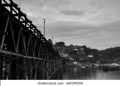Wooded bridge Saphan Mon (Mon Bridge) in Sangkhlaburi District, Kanchanaburi, Thailand. Black and white Tone.