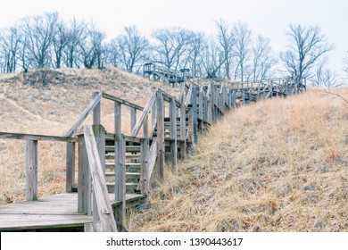 A wooded Staircase headed up Mt.Tom one of the Dunes at Indiana Dunes National Park. America's 61st Recognized National Parks located in Indiana.