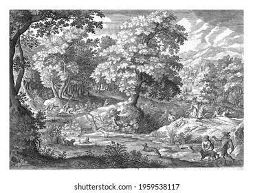 In a wooded swamp, a number of men hunt a deer that is startled in a pond by hunting dogs.