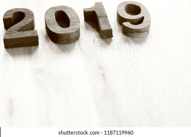 wooden 2019 background (duskiness atmosphere)
