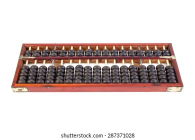 Wooden abacus beads isolated on white background.
