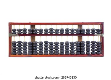 Wooden abacus beads and Thai baht Coins isolated on white background.