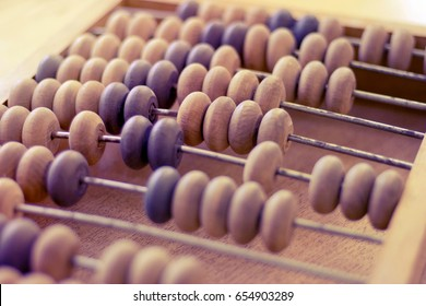 wooden abacus, focus in the middle