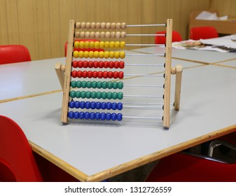wooden abacus to learn how to count numbers based on decimal or base ten