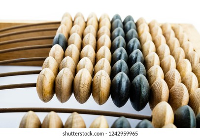 Wooden abacus. Old wooden abacus on bright background. Wooden calculator.