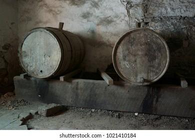Wooden abandoned barrels