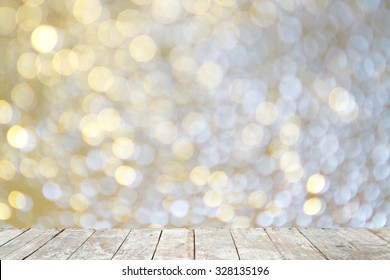 Wooden with abstract bokeh background.