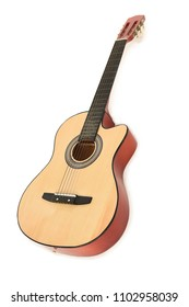 Wooden acoustic guitar leaning on a white background, with a shadow. Space for text.