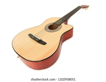 Wooden acoustic guitar on a white floor, with a shadow beneath. Focus is on the body facing towards the front with the neck slightly blurred into the background. Space for text.