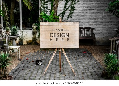A wooden advertise board mockup in a cafe