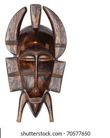 Wooden African Tribal Mask Isolated on White