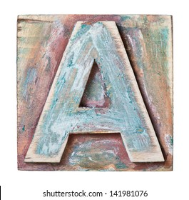 Wooden alphabet block, letter A