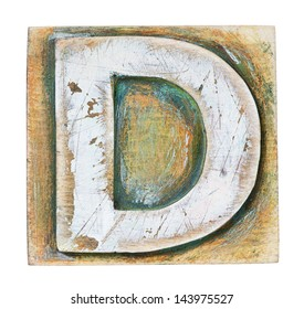 Wooden alphabet block, letter D