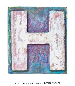 Wooden alphabet block, letter H