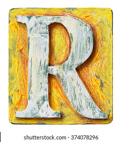Wooden alphabet block, letter R