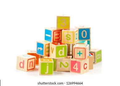 Wooden alphabet blocks.