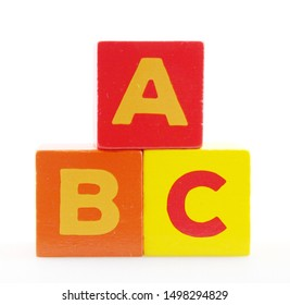 Wooden Alphabet Blocks Against White Background
