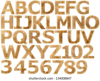 Wooden alphabet letters and numbers.