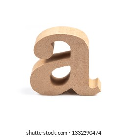 The wooden alphabet A in lower case font isolated on white background