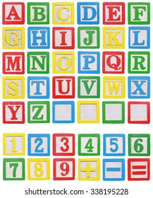 Wooden alphabet and numbers blocks isolated on white background