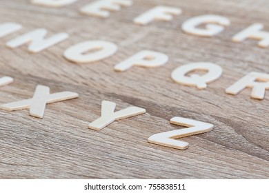 Wooden Alphabet study english letters,ABC on the wooden background