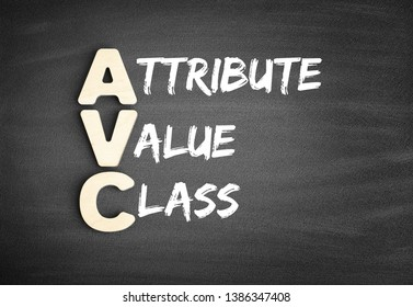 Wooden alphabets building the word AVC - Attribute Value Class acronym on blackboard