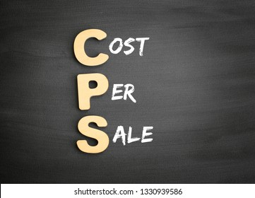 Wooden alphabets building the word CPS - Cost Per Sale acronym on blackboard