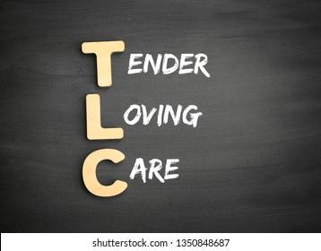 Wooden alphabets building the word TLC - Tender Loving Care acronym on blackboard