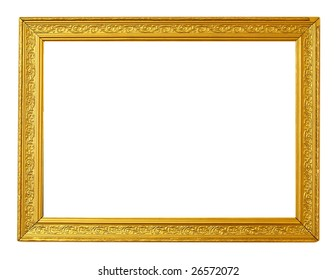 A wooden ancient frame in gold