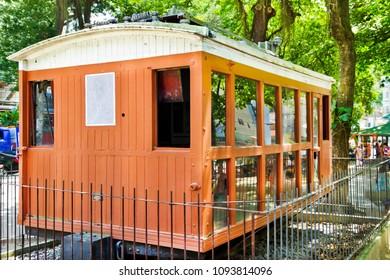 Wooden antique electric train