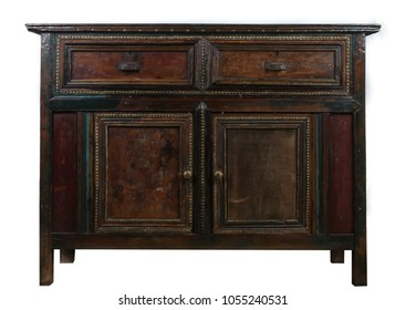 Wooden antique vintage console table drawer cabinet