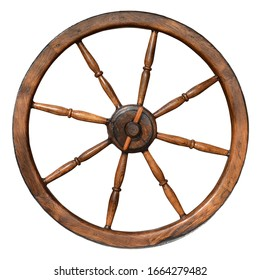 Wooden antique wheel on a white background. Items of ancient culture.