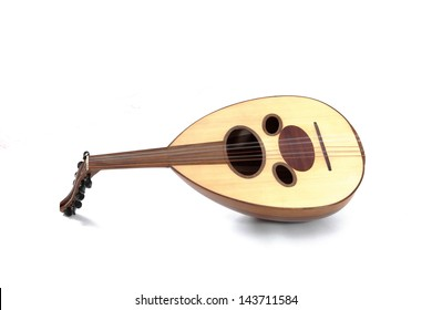 A wooden arabian oud on a white background