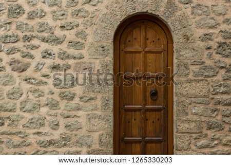 Wooden Arch Door Frame In Medieval Castle Building Stone Wall Background  Texture, Exterior Architecture Design