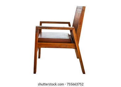 Wooden arm chair isolated on white background with clipping path.