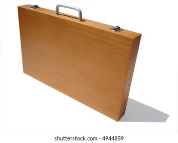 Wooden art case isolated with clipping path.