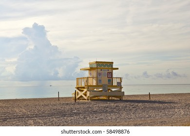 wooden Art Deco Baywatch Huts at the beautiful beach