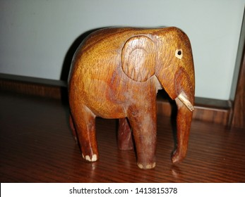 Wooden artefact of elephant for home decor.