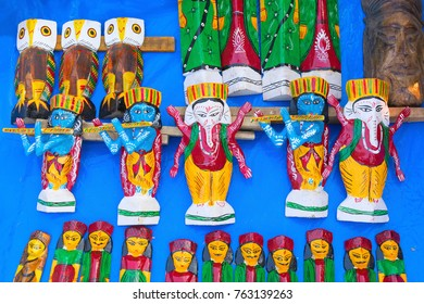 Wooden Artworks of handicraft, on display during the Handicraft Fair in Kolkata - the biggest handicrafts fair in Asia.