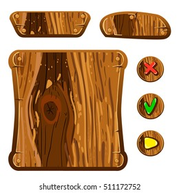 Wooden assets for game. Interface game illustration.