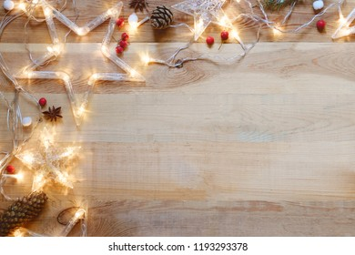 Wooden Background, Christmas Decoration, Copy Space and Retro Flat Lay